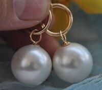 Free shipping Jew313 Beautiful AAA Grade 16mm White Shell Pearl Round Beads Dangle Earrings