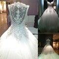 2017 vestido de Baile Vestido de Casamento Frisado De Cristal de luxo 2016 Catedral/Royal Train Vestido De Noiva De Alta Qualidade Vestidos de Casamento