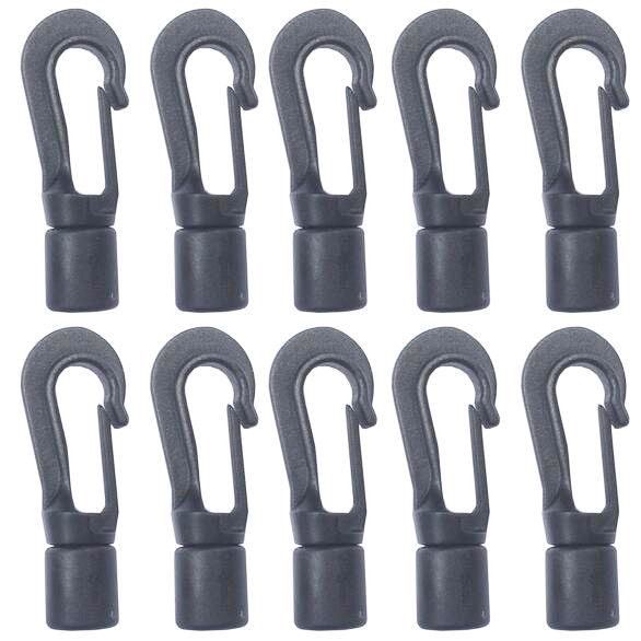 Strong 10Pcs Plastic Hooks 8mm Shock Cord Bungee Elastic Rope Outdoor Agricultural Camping Boating
