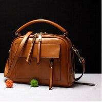 Fashion Newest Design Genuine Leather Women S Popular Handbag Vintage Small Shoulder Bag Simple Female Messenger