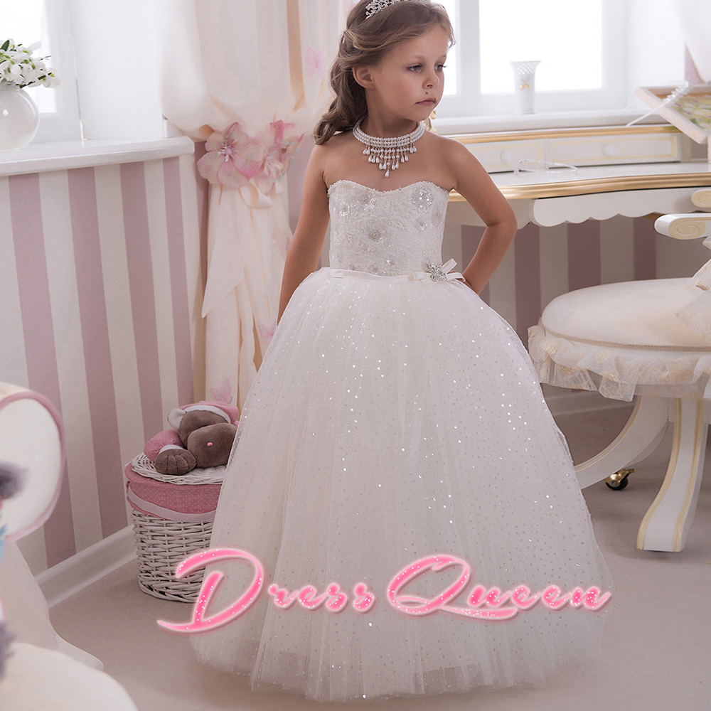 2017 Flower Girl Dresses White/Ivory Ball Gown Appliques Sequined Sleeveless First Pageant Communion Gowns Vestidos Longo Custom white ivory butterfly lace flower girl dress bow sash sleeveless a line vestidos longo custom made first communion gown 2017