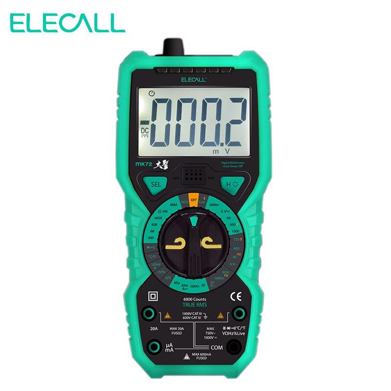 Elecall MK72 Ad alta Precisione Vero RMS Multimetro Digitale Palmare Multimetro Con Temperatura Capacità LCD Retroilluminato UK