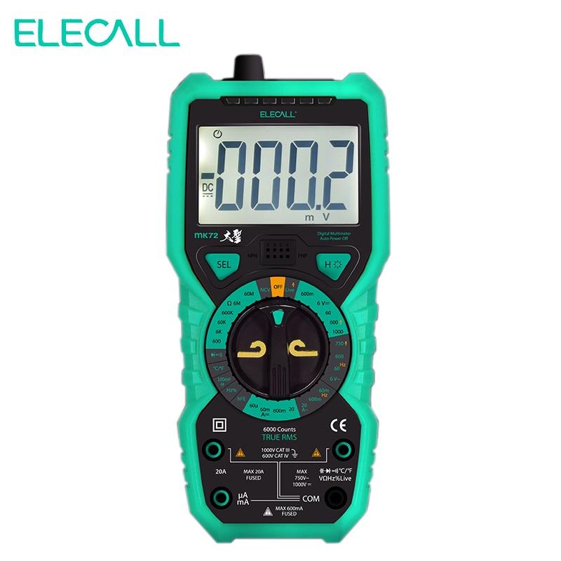 Elecall MK72 Hochpräzise True RMS Digital-Multimeter Handheld Multimeter Mit Temperatur Kapazität Lcd-hintergrundbeleuchtung UK
