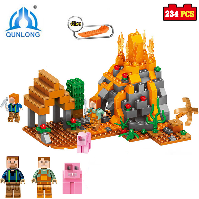 Qunlong Volcanic Action Figures Building Blocks Toy Compatible Legoings Minecraft City Educational Bricks For Kids playmobil