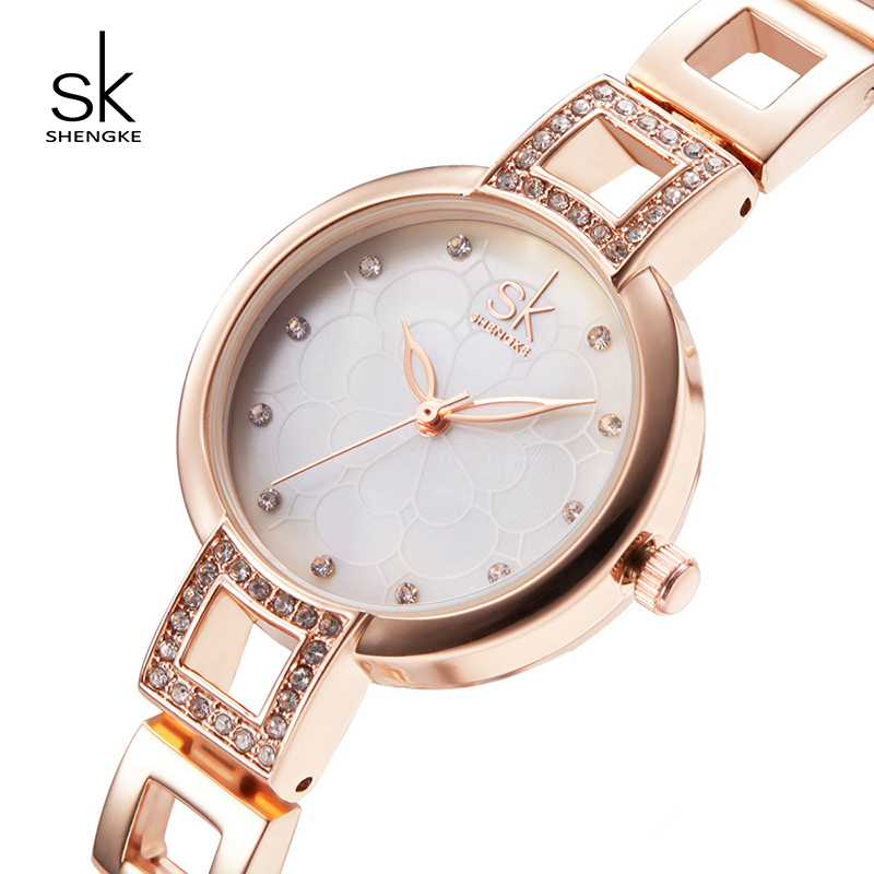 Shengke Women Quartz Watches Brand Luxury Stainless Steel Bracelet Clock Lady Dress Watch Relojes Mujer 2018 Female Gift #K0019 onlyou brand luxury fashion watches women men quartz watch high quality stainless steel wristwatches ladies dress watch 8892