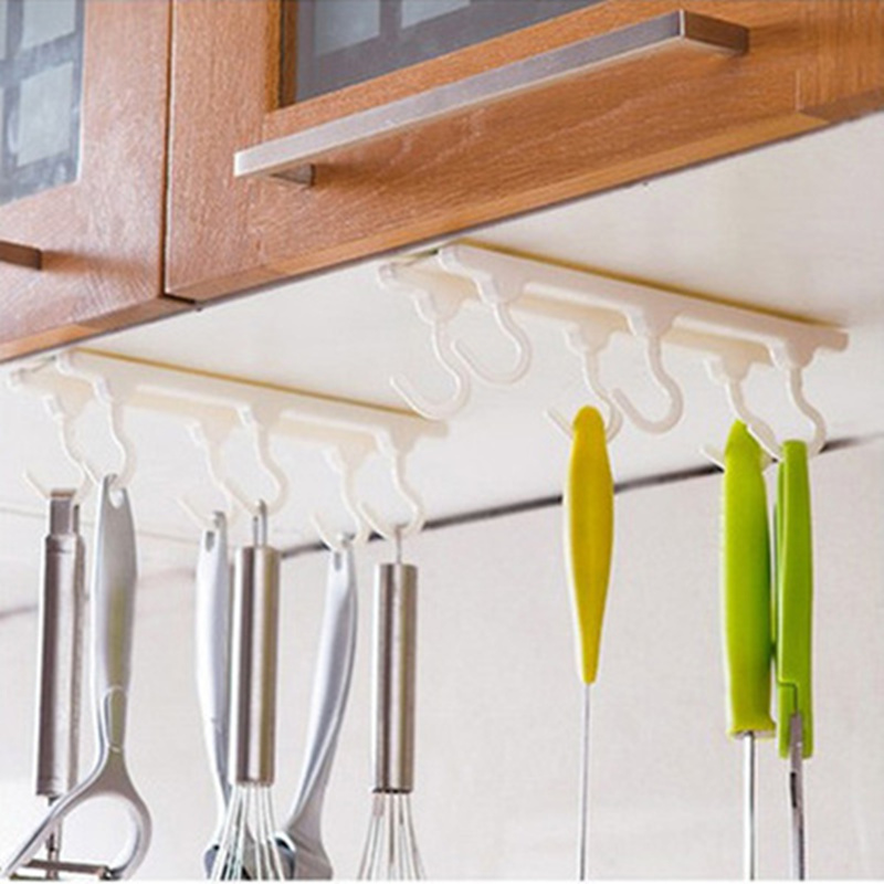 Practical Kitchen Cabinets Ceiling Hook With 6 Hooks Desk Cupboards Hanging Rack Rod Wall Hook Organizer Kitchen Accessories