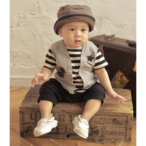 2015 new Baby One Piece Romper Kids Climb Clothes Boys Stripe Short Sleeve Jumpsuit Rompers Infant