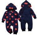 Teste Padrão Do Coração Do Bebê recém-nascido Roupas de Inverno Menino Criança Macacões Romper Com Capuz Grosso Quente Casacos Valentine Meninos Infantis Macacão
