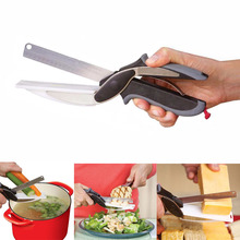 1 Pcs Vegetable Knife 2 In 1 Stainless Steel Vegetable Cutter Knife Kitchen Scissors with Sharp Knife Board Food Cutter