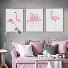 Nordic Watercolor Flamingo Animal Poster Triptych Wall Art Picture Modern Living Room Home Decor Canvas Painting No Frame(China)