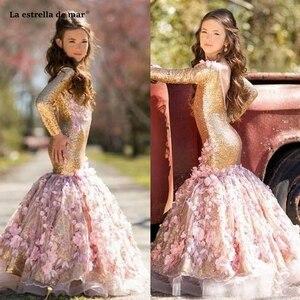 Image 2 - La estrella de mar flower girl dresses new O neck back open long sleeve sexy mermaid gold sequins pageant dresses for girls