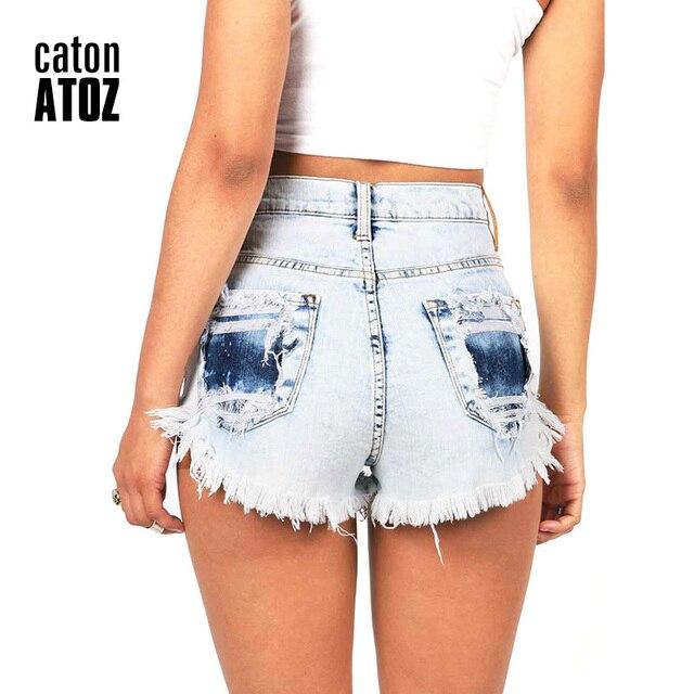 f844285e12 CatonATOZ 2063 pantalones cortos vaqueros desgastados de marca de moda  Vintage borla rasgados pantalones cortos de