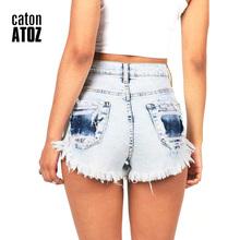 catonATOZ 2063 damskie szorty dżinsowe moda marki Vintage Tassel zgrywanie luźne wysokiej talii szorty punk sexy krótkie dżinsy tanie tanio Kobiet Bawełniana dżinsowa Tassel Koronka otwór wydrążony kieszenie przycisk Regularne Szczupła Poliester spandex bawełna