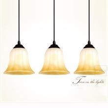 Moderno 3 cabezas de vidrio comedor Pendent luz rectángulo base de Round Top cocina sala barra lámparas pendientes