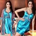 2016 camisola de Seda sleepwear sexy feminino Quatro temporadas set alcinhas camisola robe feminino twinset