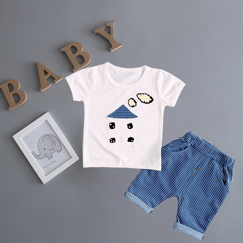 Male baby short sleeve suit 2018 summer models Korean childrens clothing wholesale kids suits t-shirt shorts