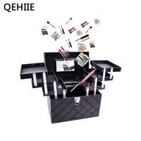 Women Folding Layer Professional Makeup Bag Top Quality Large Cosmetic Organizer Box Travel Storage Case Large
