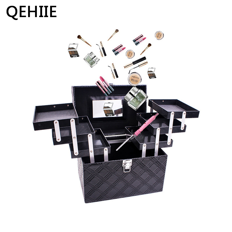 Women Folding Layer Professional Makeup Bag Top Quality Large Cosmetic Organizer Box Travel Storage Case Large Capacity Suitcase car trunk storage box folding suitcase with wheel portable new top quality travel trolley carts 3 colors daily usage