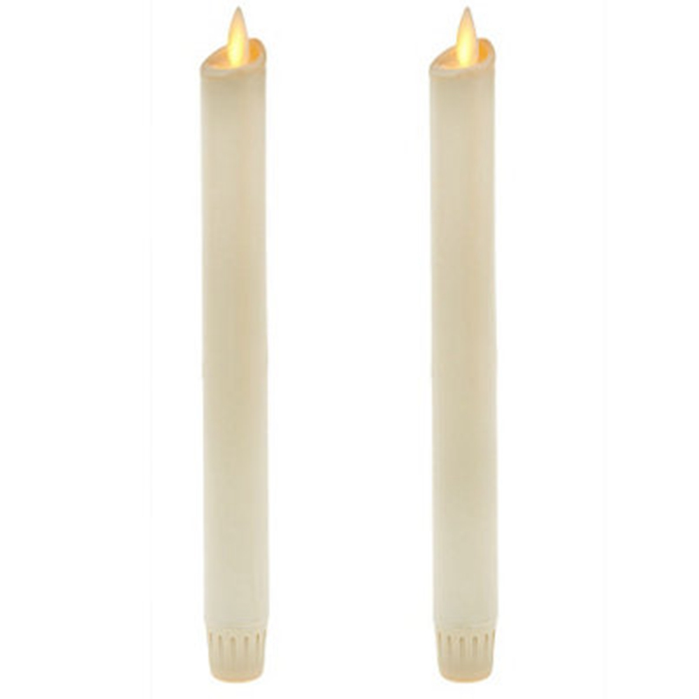 Ksperway Flameless Moving Wick LED Taper Candles Real Wax with Timer and Remote for Home Decoration Set of 2