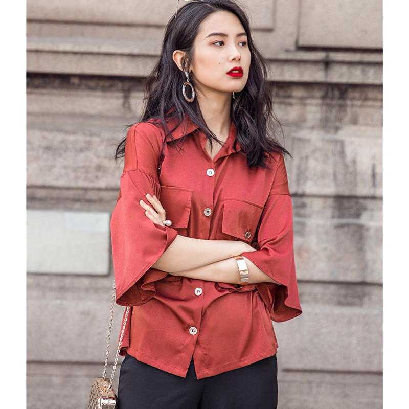 b41f8d9b298b Cheerart 2017 Satin Shirt Summer Women Blouses Wine Red Flare Sleeve  Pockets Ladies Tops Loose Korean Fashion Clothing-in Blouses   Shirts from  Women s ...