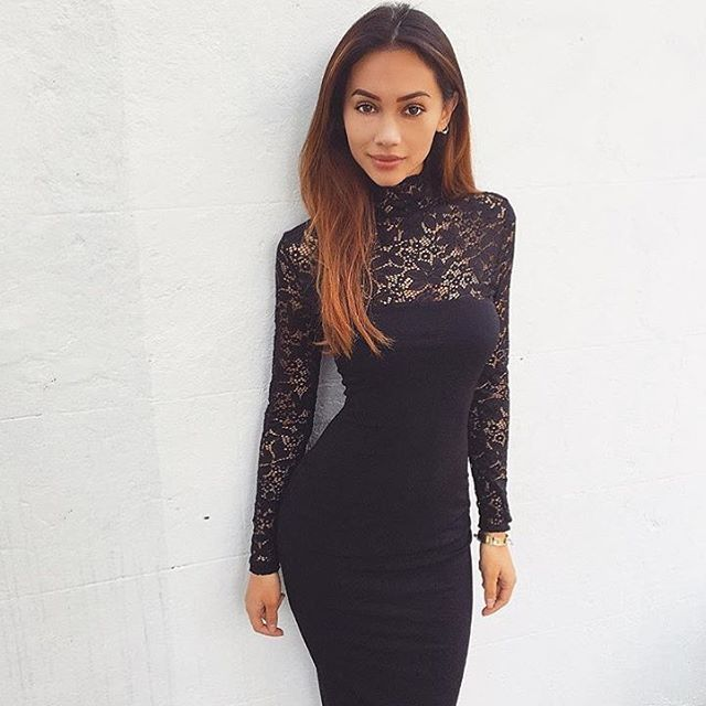 2017 Sexy Women Lace Dress Autumn Winter Long Sleeve High Neck Bandage Dress  Black Club Dress Red Party Dress Vestidos Robe Sexy 9909a4ecd9f9