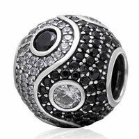 925 Sterling Silver Tai Ji Charms with Clear&Black CZ Stones Yinyang Beads Fits European Pandora DIY Bracelets Fashion Jewelry