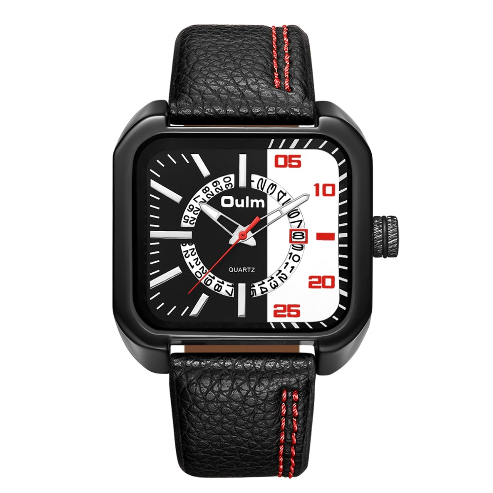 Oulm New Minimalist Square Male Quartz Watches Top Brand Luxury Leather Strap Sport Watches Automatic Date Casual Men Watch new arrived automatic date waterproof genuine leather quartz wristwatches songdu top brand luxury brand men watches