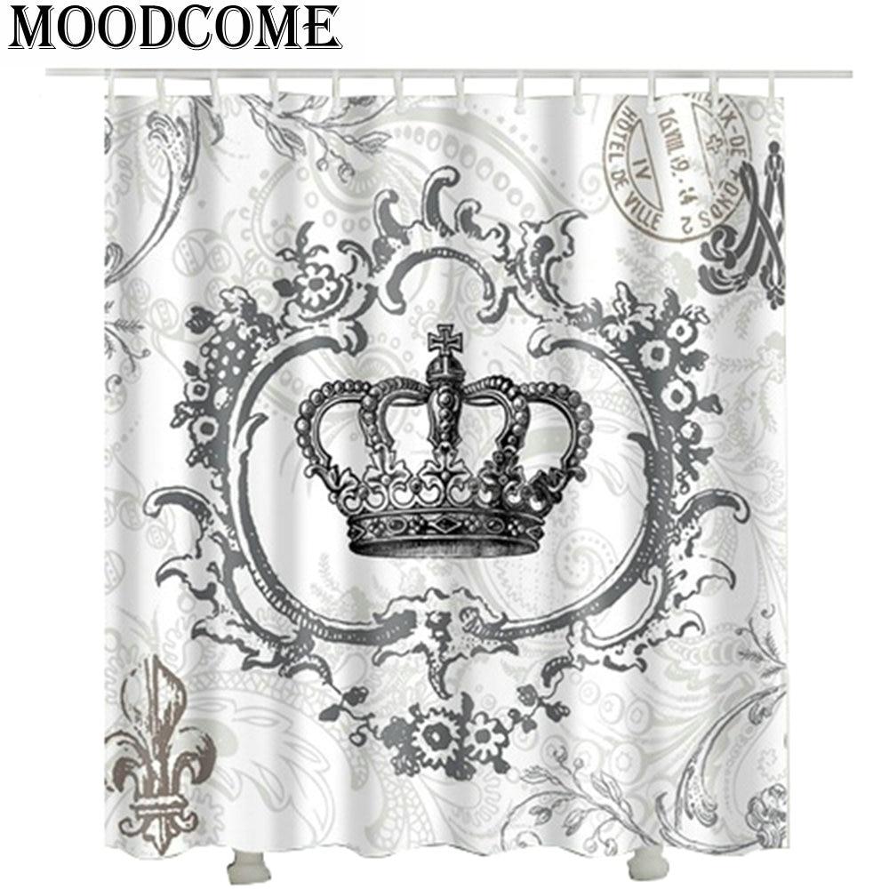 Crown custom fabric shower curtain cortina de ducha 2017 new design cortina de banheiro shower curtain