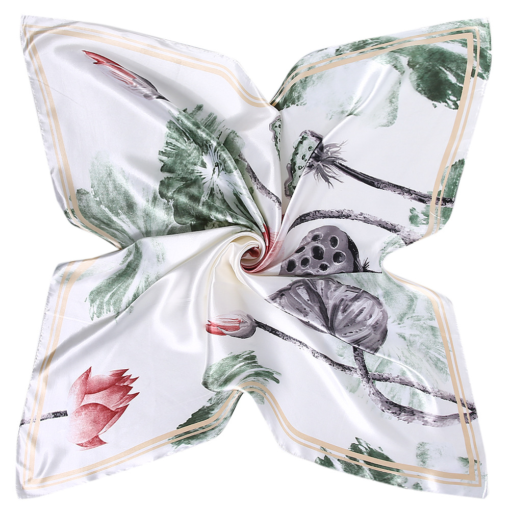 New Women Pure <font><b>Silk</b></font> Square <font><b>Scarf</b></font> Lotus Printed Foulard Femme Bandanas Big Flower Pattern Women's <font><b>Scarf</b></font> <font><b>90</b></font><font><b>*</b></font><font><b>90</b></font> image