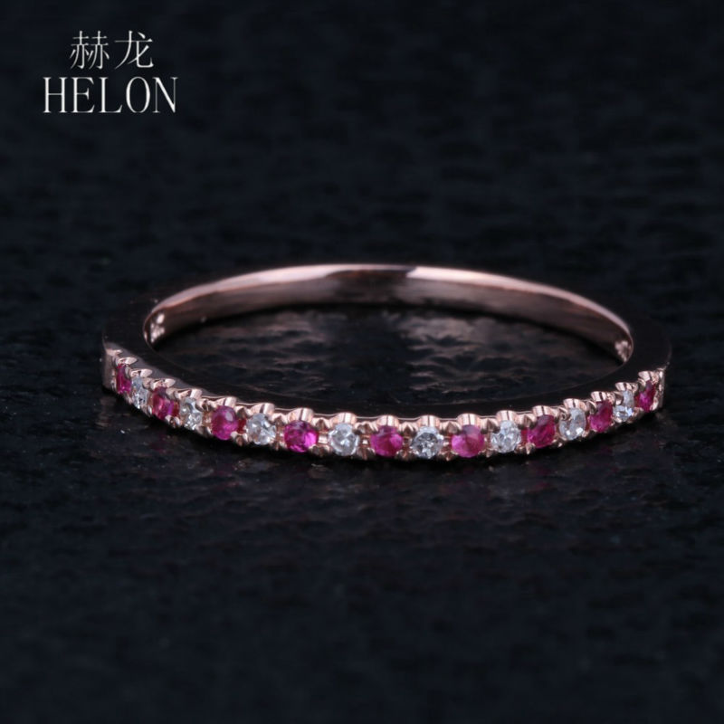 HELON Pave Natural Diamonds & Pink Sapphire Ring Solid 14k Rose Gold Women's Diamonds Ring Gemstones Engagement & Wedding Bands