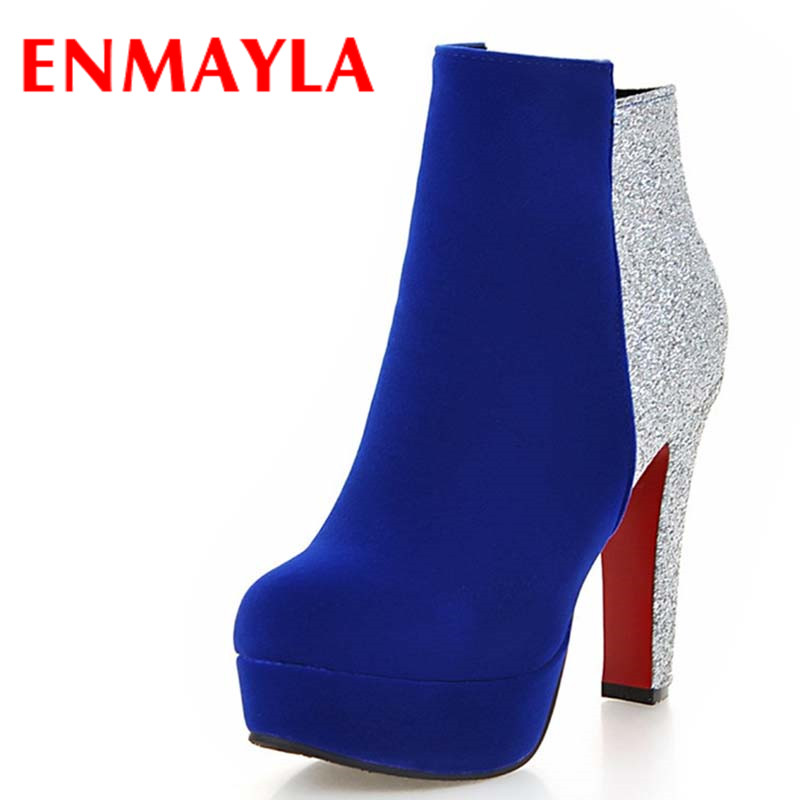 ENMAYLA Zippers Sexy High Heels Round Toe Platform Winter Boots Shoes Woman 3 Colors Red Ankle Boots for Women Motorcycle Boots enmayla ankle boots for women low heels autumn and winter boots shoes woman large size 34 43 round toe motorcycle boots