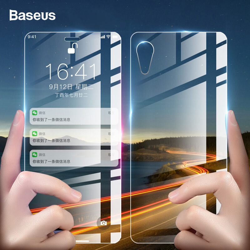 Baseus 0.3mm Front Back Screen Protector Tempered Glass For iPhone XR Front Film + Back Cover Protective Glass For iPhoneXr Film|Phone Screen Protectors| |  - title=