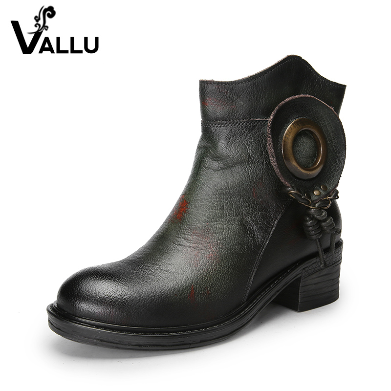 Hot Sell Shoes Woman Vintage Ankle Boots 2018 Original Leather Thick Heel Handmade Women Shoes handmade women shoes leather ankle boots 41 42 high heel women boots black brown thick heel shoes handmade vintage xiangban