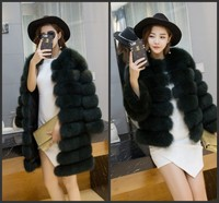 2017 new fashion women natural real fox fur coat fox stripes removable