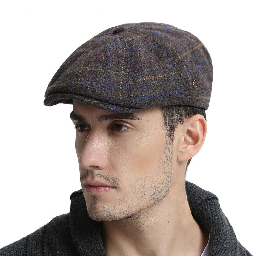 VOBOOM Wool Tweed Newsboy Cap Mens Women Warm Flat Cap Large Check Driver Cabbie Hat Autumn Winter Beret Hats 188