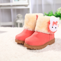Fashion Baby Girls Snow Boots Winter Warm Girl Shoes Children Plush Thickening Cotton Kids Boots Cute