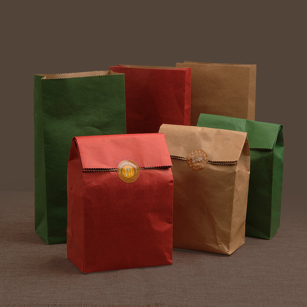 50pcs Kraft Paper packing bags, bakery/gift/takeaway bag fit for cookies candy tea packing Chirstmas party favor bags