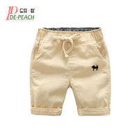 2017 Summer Boys Casual Shorts Children Cotton Elastic Waist Pants Toddler Kids Knee Length Pants Solid