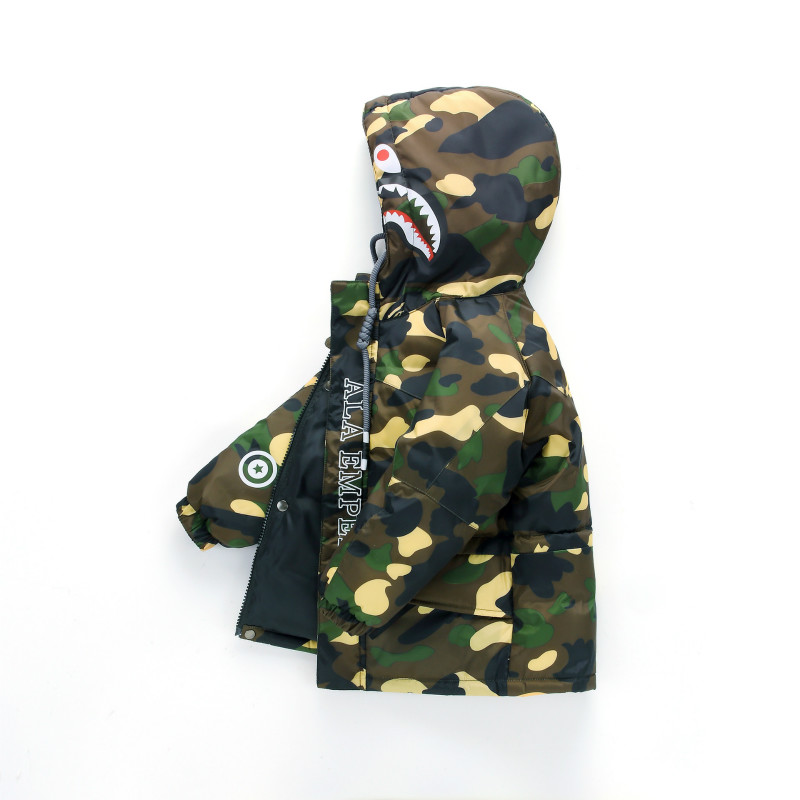 Baby Boy Down Jacket Winter New Girl Camouflage Hooded Jacket Thick Section Long Paragraph Leisure Down Jacket thick hooded down jacket women slim print long winter coat camouflage y160