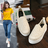 2017 Summer Thick Soles Womens Shoes Women Loafers Fashion Lace White Women S Shoe Casual Canvas