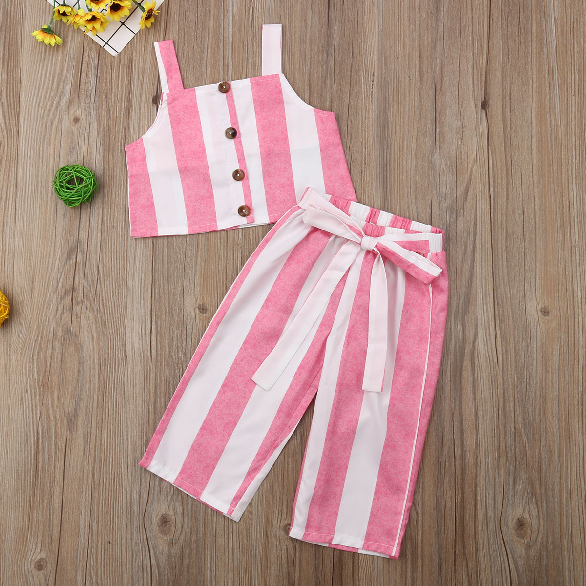 2019 Summer Baby Girl Clothes Striped Sleeveless Fashion Crop Top Long Pants 2pcs Outfit Clothes Set