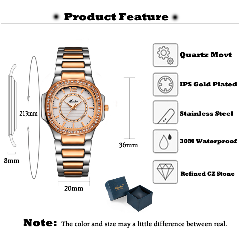 Image 3 - MISSFOX Rose Gold Watch Women Quartz Watches Ladies Top Brand Luxury Stainless Steel Female Wrist Watch Girl Golden Clock Hours-in Women's Watches from Watches