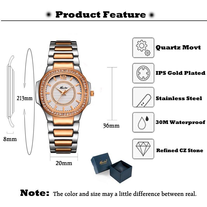 Image 3 - MISSFOX montre en or Rose femmes montres à Quartz haut pour femme marque de luxe en acier inoxydable femme montre bracelet fille horloge dorée heuresMontres femme   -