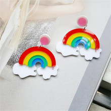 2 Pair Acrylic Jewelry Custom Womens Cute Rainbow Large Dangle Earrings for Women Pendientes Trendy Clouds Drop Earring Brincos