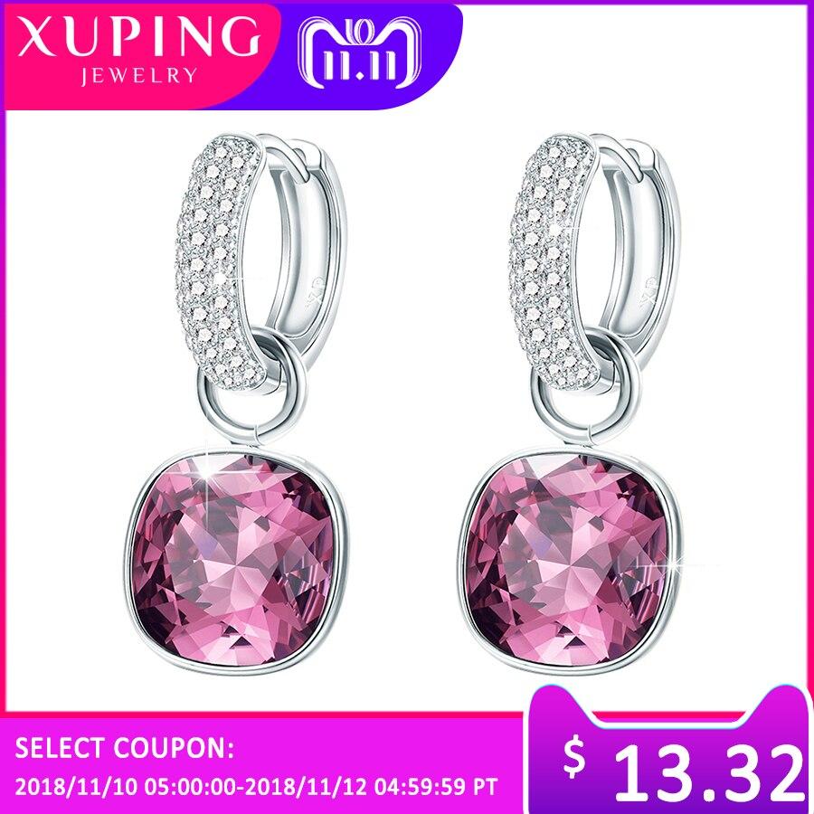 Xuping de pendientes de moda pendiente de cristales de alta calidad de Swarovski Color plateado encanto para las mujeres Día de la madre regalo M65-203