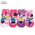 Мода мультфильм носки детей для девочек хлопок минни дети носки с животными дышащий хлопок антибактериальное носки