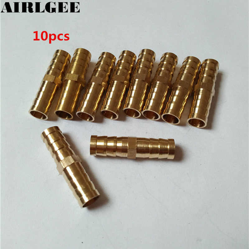 10 Pcs Brass Gold Tone 10mm Dia Air Water Gas 1 Way Straight Barb Fitting Hose Connectors 8mm hose barb x 1 8 bspt male connection air brass ball valve water gas