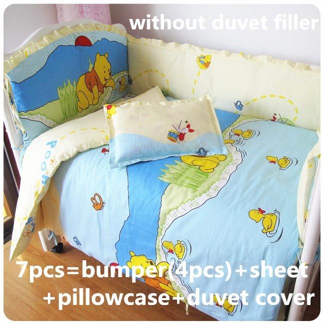 Discount! 6/7pcs Baby Bedding Set Cute Boy Crib Bedding Childrens Nursery Bedding Sets ,120*60/120*70cm