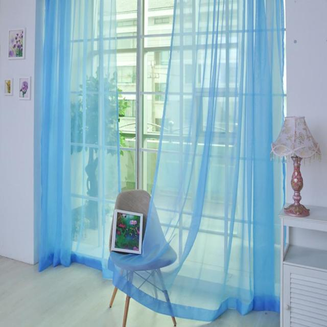 1 PCS Modern Exquisite Soft and Comfortable Pure Color Tulle Door Window Curtain Drape Panel Sheer Scarf Valances 270* 100cm m30