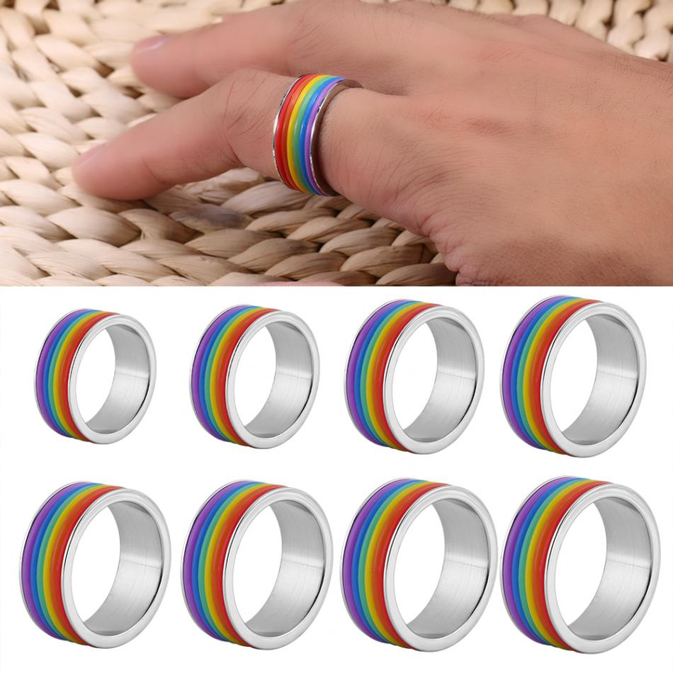 8Sizes Rainbow Ring Gay Pride Jewelry Colorful Men Women Stainless Steel Homosexual Couple Rings Jewelry Wedding Band Full Size|Rings|   - AliExpress